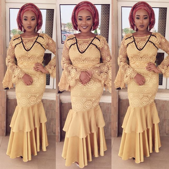 Classical Lace Aso Ebi Styles for Beautiful Ladies 2018...Classical Lace Aso Ebi Styles for Beautiful Ladies 2018