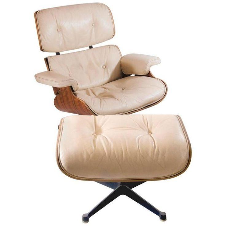 Fauteuil Lounge Chair en cuir et métal chromé style De