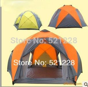 93.50$  Watch now - http://aliw63.worldwells.pw/go.php?t=1718570234 - 2017 Hot sale hexagonal 8-10 persons outdoor camping tent 8 person,yurt Caulking against storm tent,barraca de camping grande 93.50$