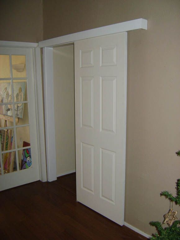 A door for my bathroom didn 39 t have room for a pocket door for Pocket door ideas