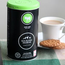 Organic Fair trade Kicking Horse coffee (I may just really like the name, but it sounds delicious too!)