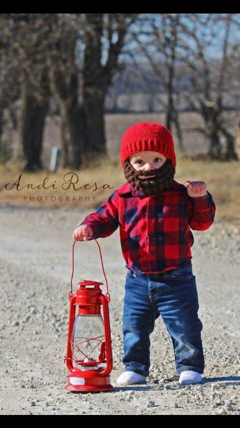 Adorable crochet baby woodsman / lumberjack hat! perfect for a photo prop.  https://www.etsy.com/listing/506240449/baby-woodsman-beard-beanie-any-sizecolor