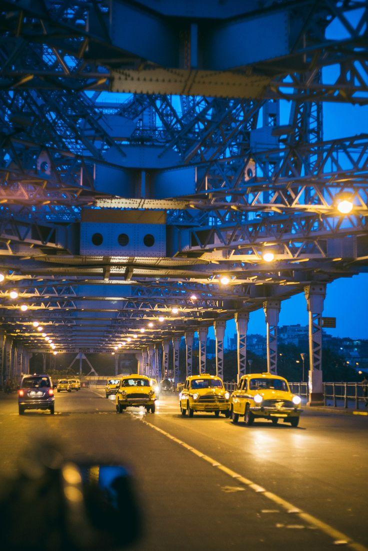 Early morning scene at Howrah bridge Kolkata.