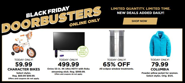 Kohl's Black Friday Doorbusters Today Only! - http://www.pinchingyourpennies.com/kohls-black-friday-doorbusters-today-only/ #Blackfriday, #Doorbusters, #Kohls