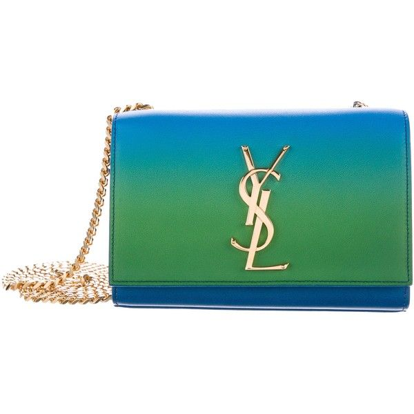 Pre-owned Saint Laurent Monogram Ombr? Small Kate Bag ($1,095) ❤ liked on Polyvore featuring bags, handbags, shoulder bags, blue, man bag, man leather shoulder bag, green shoulder bag, leather handbags and leather man bags