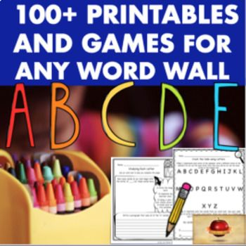 These worksheets (or printables) and games can be used for any word wall! Use as Centers, seatwork, early-finishers or more! Skit Writing and Performance Pages, Creative Writing, Seatwork for Individual and for Partner Work, Dictionary and Thesaurus Skills, Poetry, Games, and more are included in this Activity Pack of 106 different printables and games for ANY WORD WALL!
