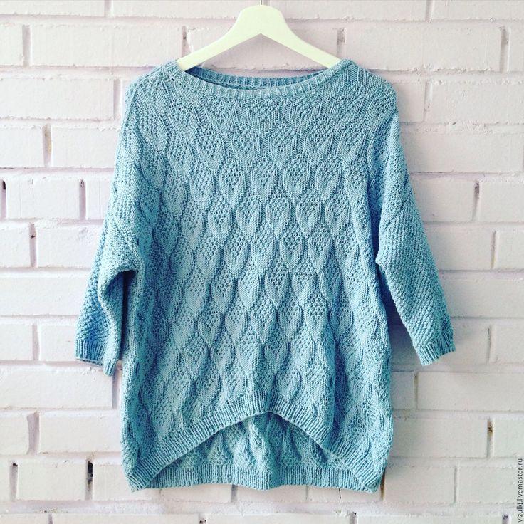 """Купить Летний джемпер """"Бриз"""" - свитер, свитер вязаный, свитер женский, свитер спицами, джемпер"""
