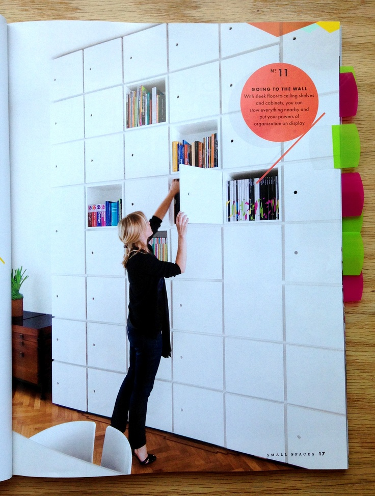 Cubes to the ceiling! QBO storage cubes for $49 each with doors for $19.99 each from the Container Store, although it can get pricey. Spotted in Domino Magazine's Small Spaces issue (Spring 2013).