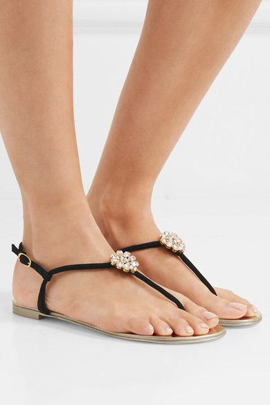Giuseppe Zanotti - Crystal-embellished Suede Slingback Sandals - Black - IT41.5