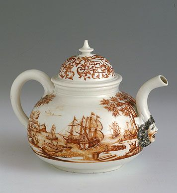The face on the spout! Currently in the Hermitage Museum. Tea Pot with Lid, Circa 1725 Meissen Porcelain Manufactory Model by Johann Jakob Irminger circa 1724, painting by Ignaz Preissler, Bresslau, Wroclaw circa 1725 Porcelain; overglaze, painting, gilding