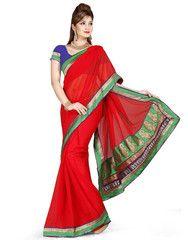 Red Color Chiffon Casual Occasion Sarees : Prashabdi Collection  YF-41528