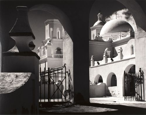 Arches, North Court, San Xavier del Bac by Ansel Adams