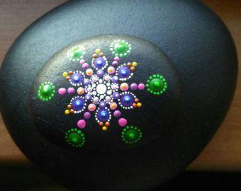 Hand Painted Rock Art Blue Green Dot art by P4MirandaPitrone