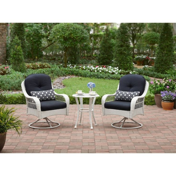 3 Pc Chairs Table White Seats 2 Wicker Bistro Set Swivel Outdoor Patio Furniture   Home & Garden, Yard, Garden & Outdoor Living, Patio & Garden Furniture   eBay!