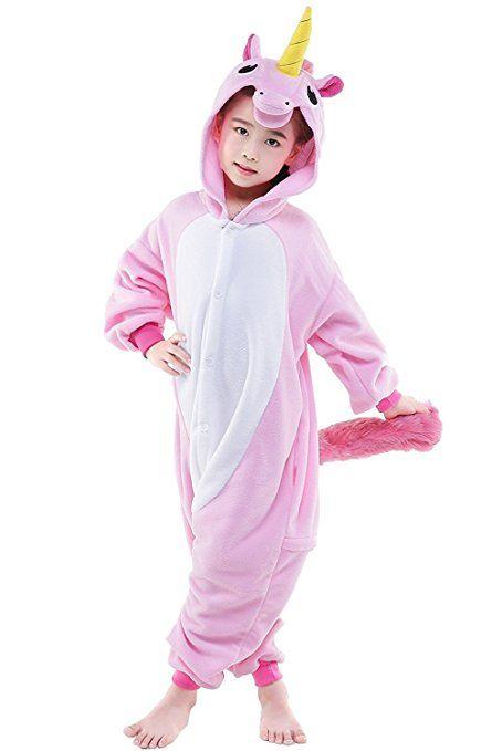 Kenmont Jumpsuit Tier Cartoon Einhorn Pyjama Overall Kostüm Sleepsuit Halloween Cosplay Animal Sleepwear für Kinder Baby (Größe105: Höhe 105-120, Rosa)
