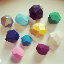 DIY clay faceted gems - buttons