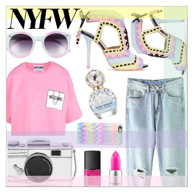 """Crazy Pastel Colors"" by sonny-m ❤ liked on Polyvore featuring Sophia Webster, MAC Cosmetics, Marc Jacobs, Moschino, Kate Spade, NARS Cosmetics, Casetify, Tildon, women's clothing and women"