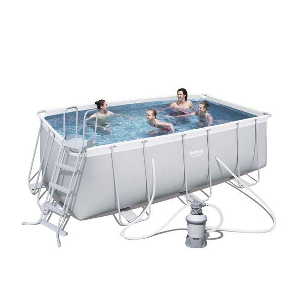 Бассейн каркасный Rectangular Frame прямоугольный 412*201*122 см + 2 аксессуара Bestway (56244) (56457) купить оптом и в розницу