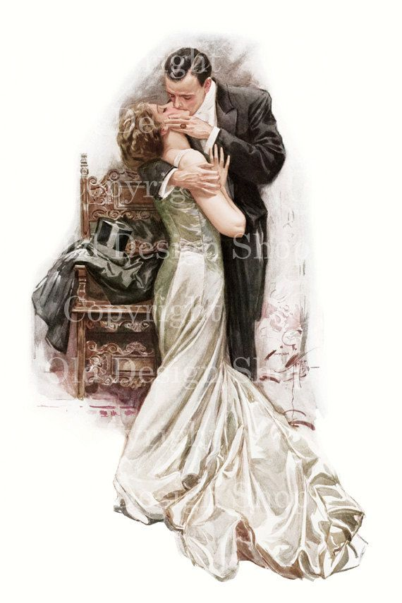 THE KISS Harrison Fisher Vintage Image for by TheOldDesignShop, $4.00
