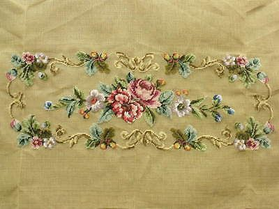 """45"""" Vtg. PREWORKED Needlepoint Canvas BENCH Cover -FRENCH Pink Rose Peach Peony"""