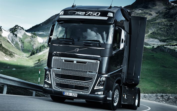 Descargar fondos de pantalla Volvo FH16, 4k, los camiones nuevos, negro FH16, sueco, camiones, Volvo