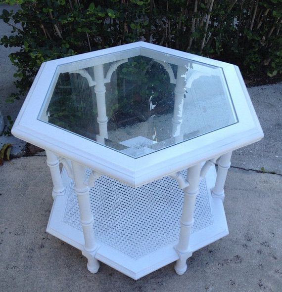 FAUX BAMBOO TABLE  Hexagon Mid Century Palm by BstreetVintage