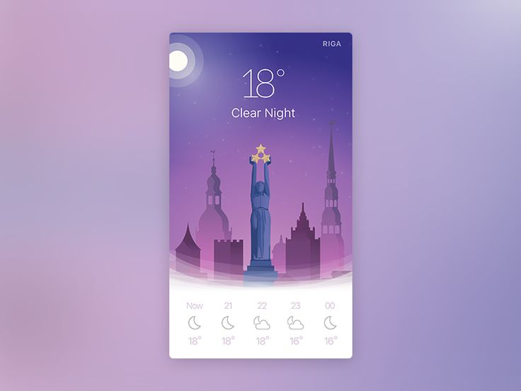 Night weather app widget by Awesomed