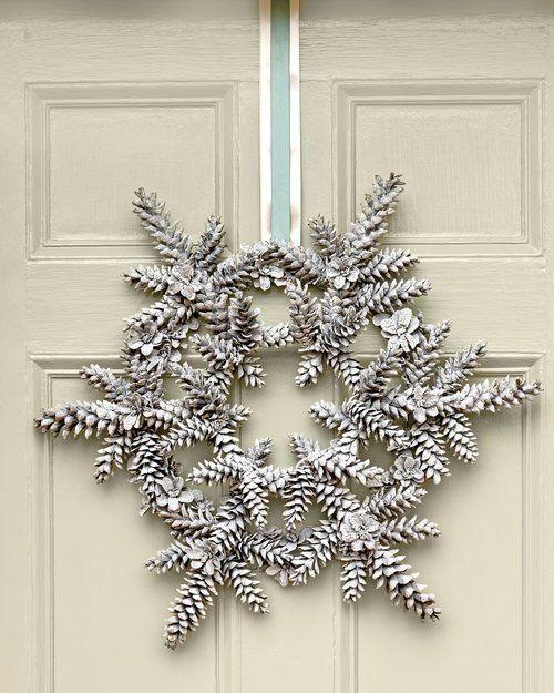 Painted pine cone snowflake wreath for winter door decor