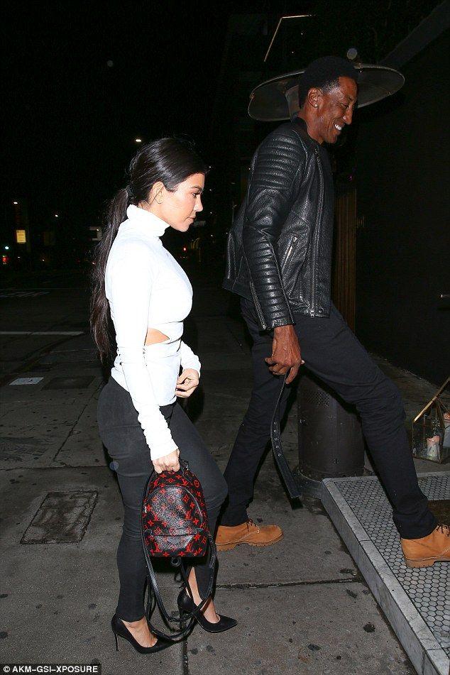 Kourtney Kardashian wears 'off' necklace on night out #dailymail