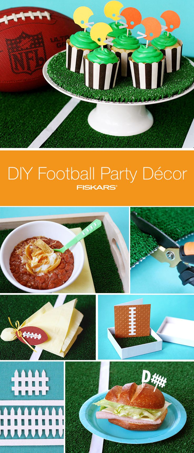 Plan your football party with these easy-to-make DIY decorations. Cheer on your team in the big game with handmade sports-themed invitations, serving tray liners, football helmet cupcake toppers, defense sandwich picks and personalized thank you notes. http://www2.fiskars.com/Ideas-and-How-Tos/Crafting-and-Sewing/Parties-and-Entertaining/Super-Bowl-Party?utm_source=Pinterest&utm_medium=Pin%2BDescription&utm_content=2.3.16%2BFootball%2BCupcake&utm_campaign=Hiebing%2BSocial