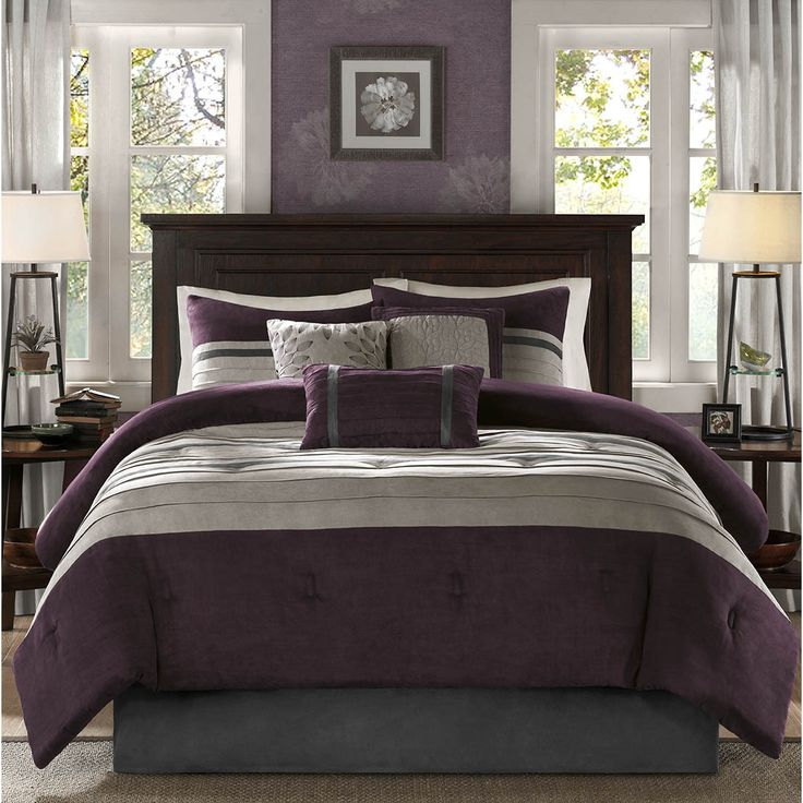 For comfort and a chic design, the Kennedy bedding collection is the perfect fit. Its plum comforter is made from pieced microsuede for a soft feel while the piecing details add texture and color with their grey and brown colorways.