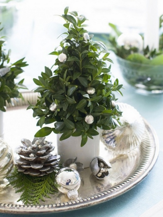 frosted, evergreen and metallic winter tabletop decor
