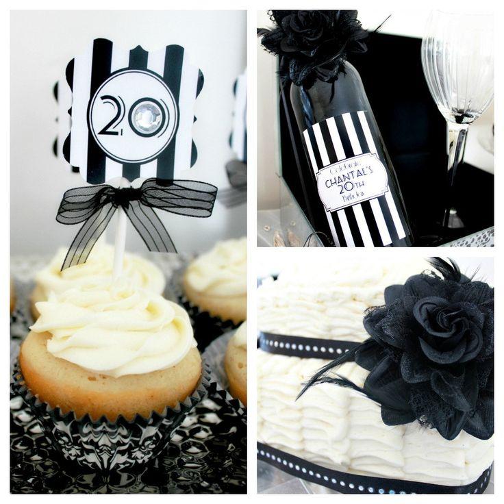 Roaring 20s Birthday Decorations. Black & White Glam Birthday Party Decor. DIY Print-Yourself.. $20,00, via Etsy.