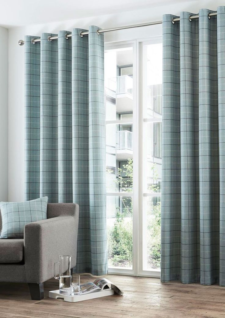 Braemar Duck Egg Eyelet  - These teal check curtains will bring vibrancy to classic interiors.