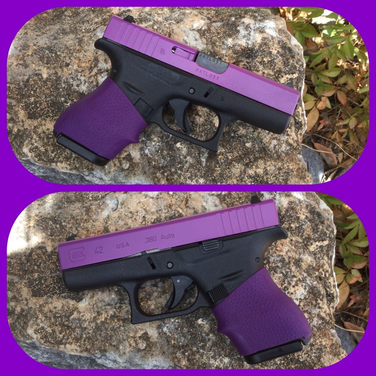 Purple Glock 42 with Hogue Grip. Slide is Cerakote color Wild Purple!