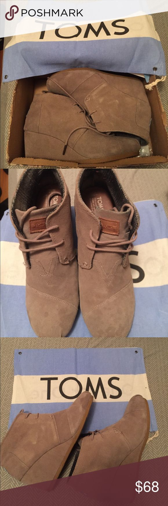 TOMS Desert Wedge Taupe Suede Women's Size 9.5 MINT Condition with Original Box!  TOMS Brand Desert Suede Wedge in Taupe Color. Comfortable and Easy to Wear! Looks great with Denim and Dresses. Women's Size 9.5 TOMS Shoes Wedges