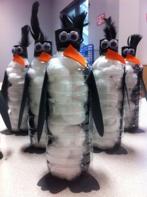 Penguins made out of water bottles.  Ms. Ashli and I made these with our kiddos today at preschool.  Fun! by jen.wic.56