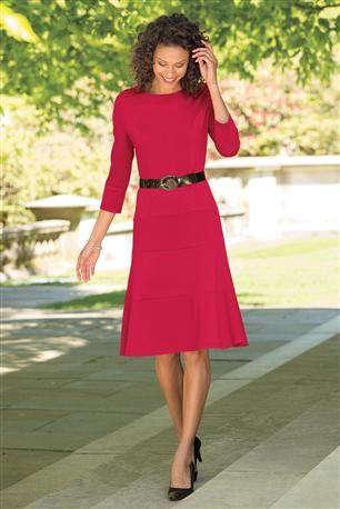 Belted-Ponte-Knit-Dress