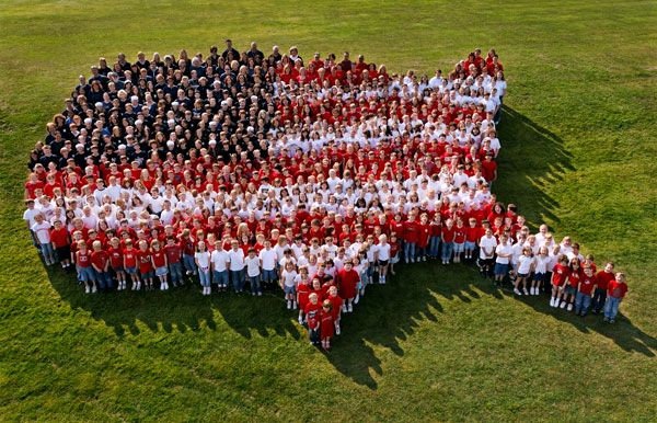 Aerial photos consisting of 750 students, staff and volunteers at a big Flag Day ceremony