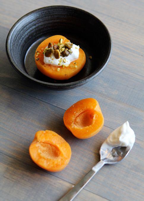 apricots w/ greek yogurt & pistachios