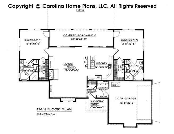 Small florida style house plan sg 1376 sq ft affordable for 1500 sf house floor plans