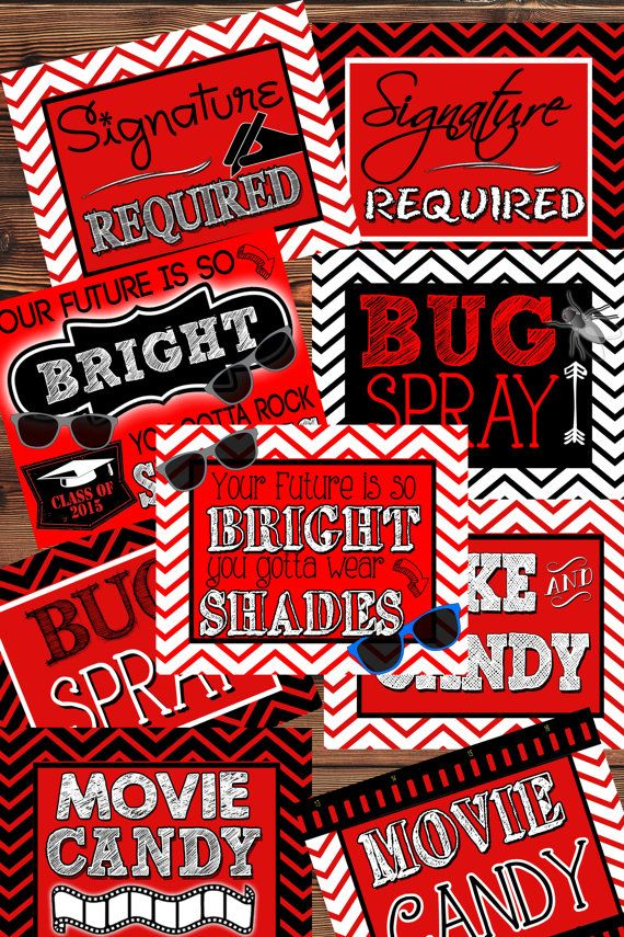 9 red white chevron signs in 3 sizes movie candy by CPNYinstant