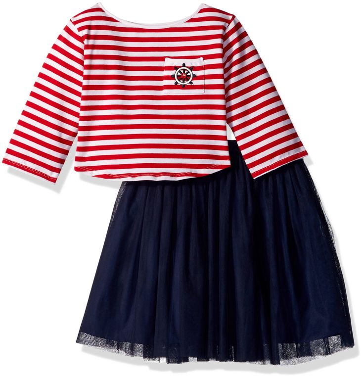 Pippa & Julie Big Girls' Skirt and Top Set Outfit, Nautical Red, 10. Two piece set. Full skirt.