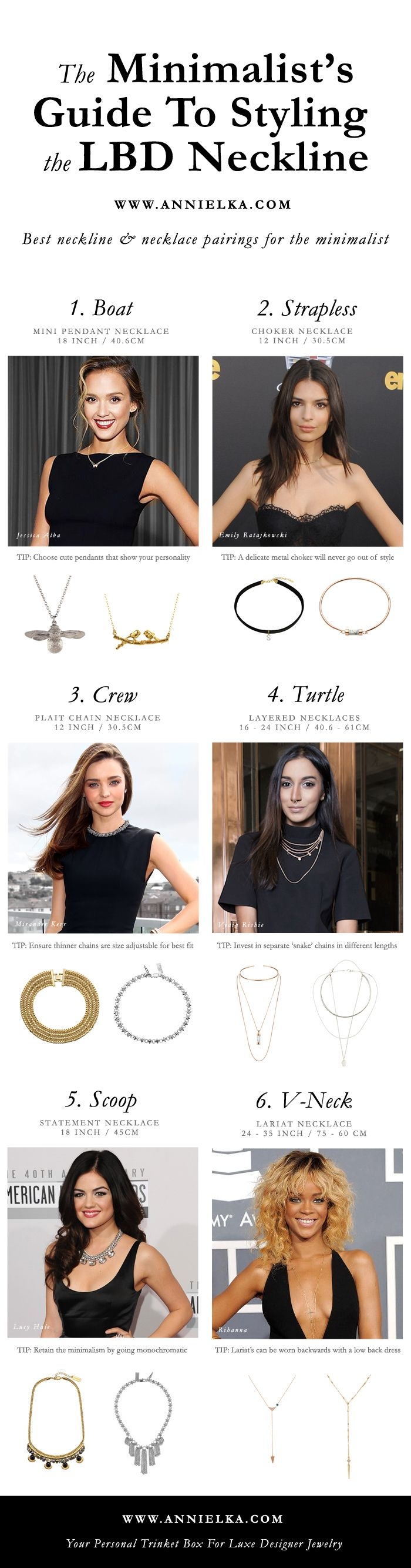 What necklace to wear with what neckline - A minimalists guide to necklace vs neckline pairing. Tips for matching necklaces for crew neck, boat neck, v neck, scoop neck, turtle neck and plunging neckline.