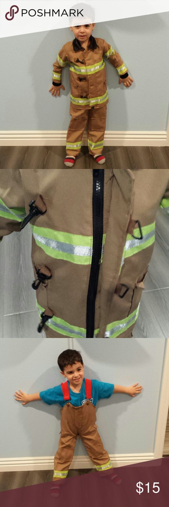 Toddler Fireman Costume. My son wore this when he was a 2T for halloween. It does not say the exact size but it fits like a 3T. Costumes Halloween