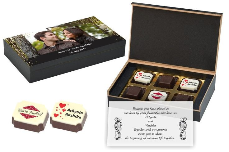 Wedding Invitation Gifts - 6 Chocolate Box - Alternate Printed Candies (10 Boxes)