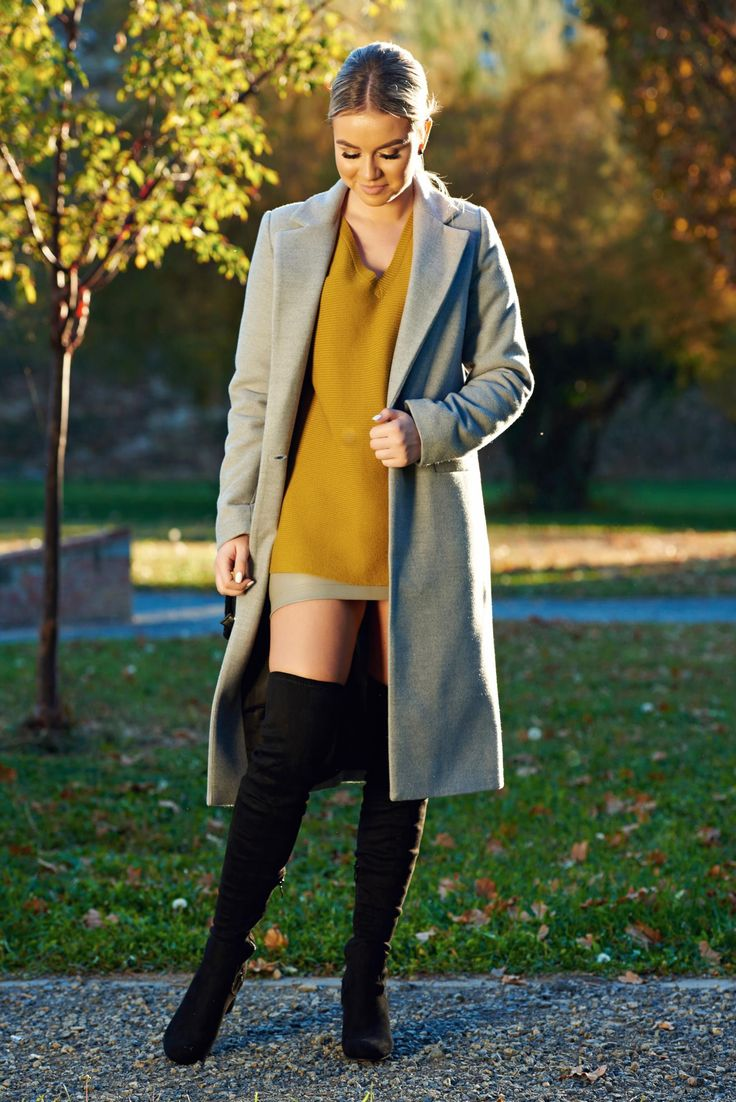Casual straight LaDonna grey coat with pockets, with pockets, inside lining, women`s coat, non elastic fabric