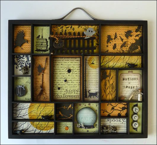 Halloween shadow box but take it to a few extra holidays... Christmas, Easter, Valentines Day, a birthday... great idea and fun to come up with the many designs per box!