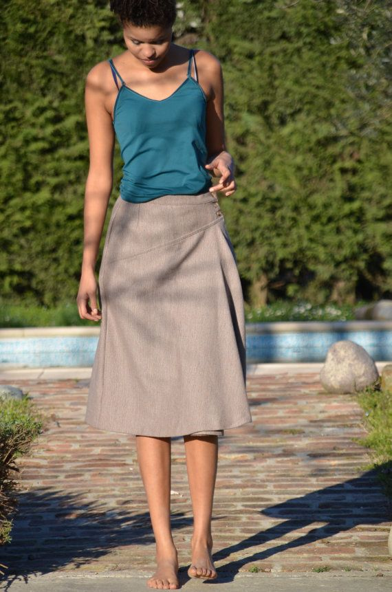 Vintage wrap over Longuette wool skirt  Made by CatsAndHatsVintage