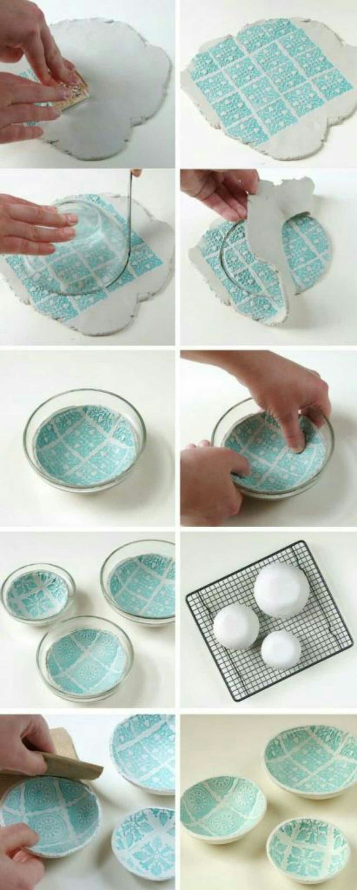 awesome DIY stamped clay bowls that will